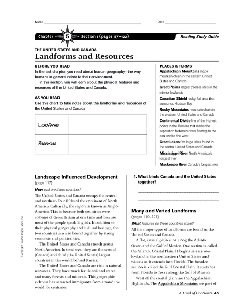 Worksheets Physical Geography Worksheets united states physical geography worksheets intrepidpath landforms and resources of the canada 6th 8th
