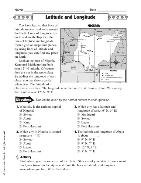 Worksheet Latitude And Longitude Worksheets latitude and longitude nigeria 5th 6th grade worksheet lesson planet