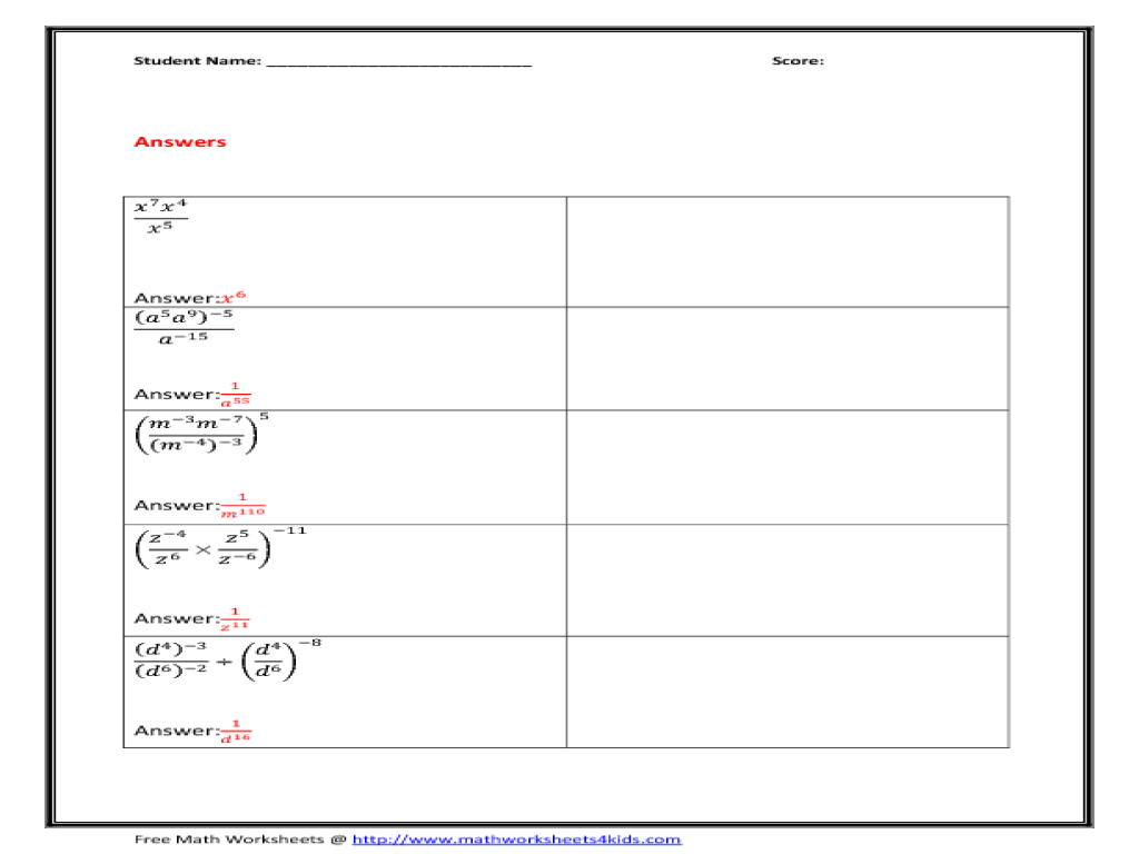 Rules For Exponents Worksheet Lesupercoin Printables