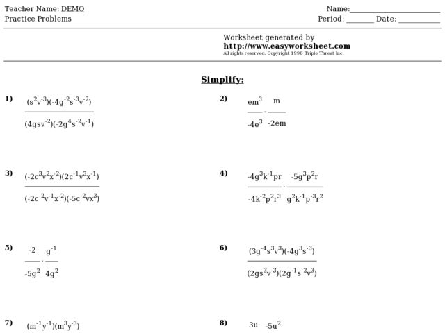 Laws of exponents practice worksheet answers