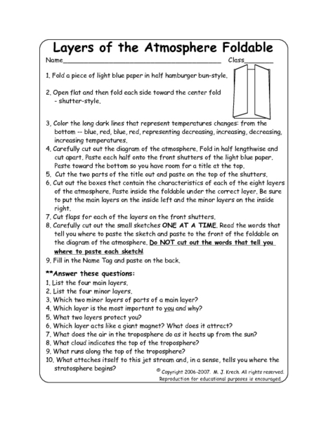 layers of the atmosphere worksheet | Adcontessa