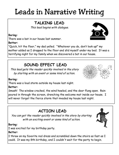 narrative writing lesson Free printable narrative essay assignments to use in your classroom or to improve your narrative writing skills, a great resource.