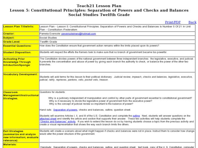Separation Of Powers Worksheet - Intrepidpath