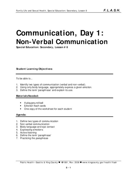 verbal and nonverbal communication worksheets - The Best and Most ...