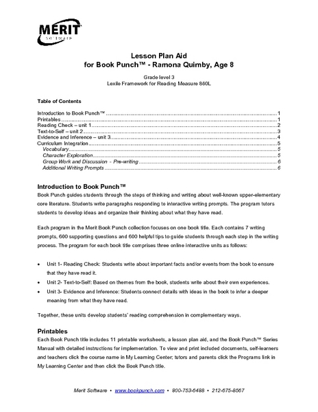 Worksheet Ramona Quimby Age 8 Worksheets lesson plan aid for book punch ramona quimby age 8 3rd grade planet