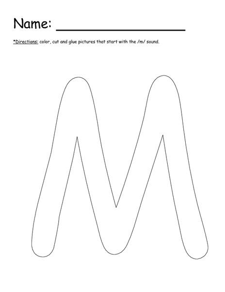Letter M Cut and Paste Kindergarten - 1st Grade Worksheet | Lesson ...