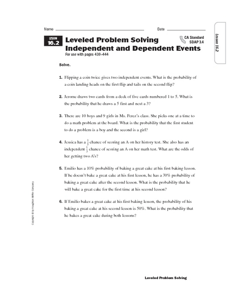 Worksheets Independent And Dependent Events Worksheet leveled problem solving independent and dependent events 6th grade worksheet lesson planet