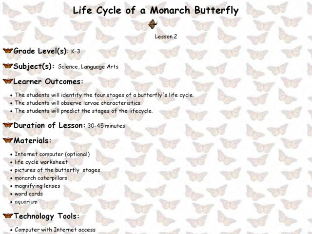 Butterfly Life Cycle Lesson Plans 2nd Grade - butterfly life cycle ...