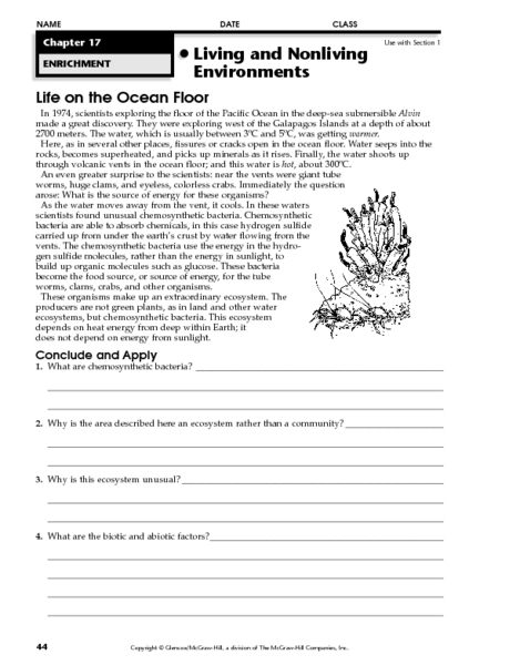 Life On The Ocean Floor 7th 10th Grade Worksheet Lesson Pla