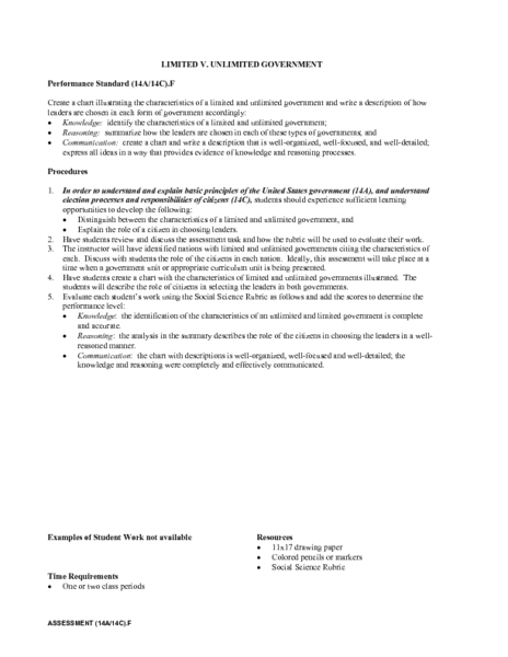 Printables Limited And Unlimited Government Worksheet limited v unlimited government 9th 12th grade lesson plan planet