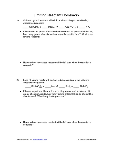 Printables Limiting Reactant Worksheet limiting reactants worksheet versaldobip davezan