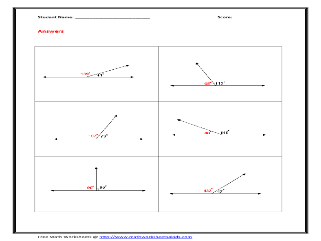 complementary supplementary angles worksheet pdf