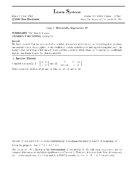 Matrix Inverse Worksheet