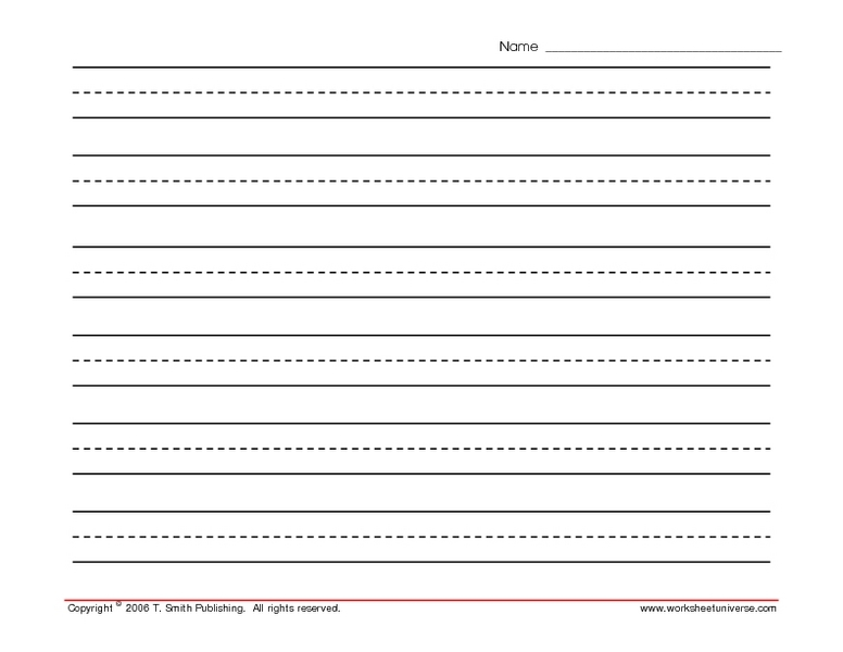printable writing paper with lines for first grade