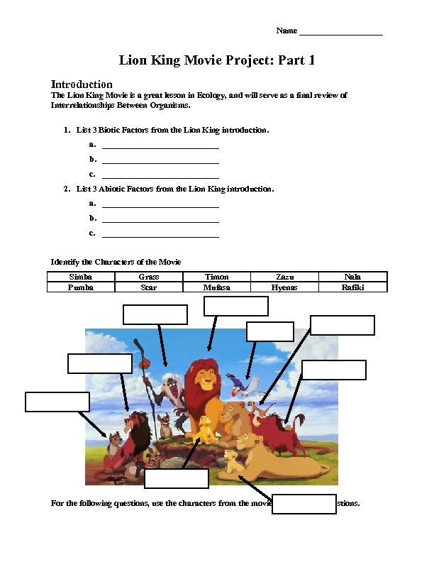 Lion King Ecosystem Worksheet Answers Worksheet Printable Blog – Ecosystem Worksheet