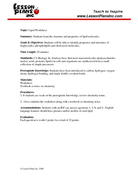 Lipid Worksheet 9th - 12th Grade Worksheet | Lesson Planet