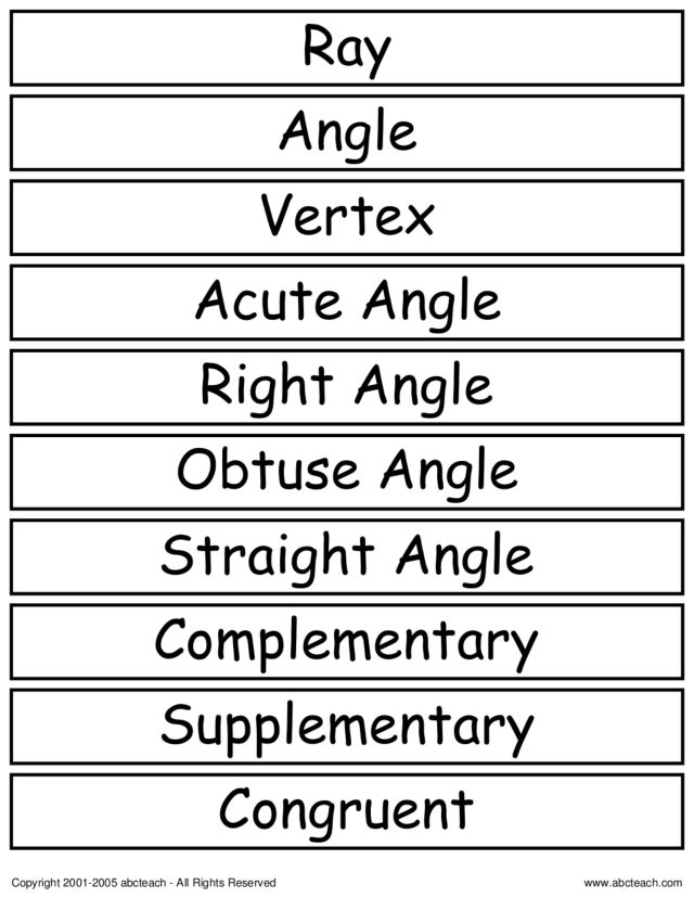 Geometry vocabulary worksheets 3rd grade
