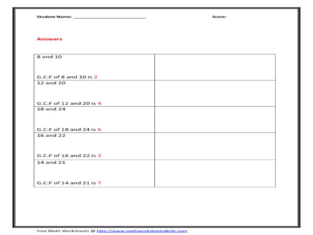 Factors worksheets grade 4