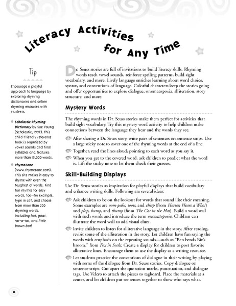 Literacy activities for any time activities project