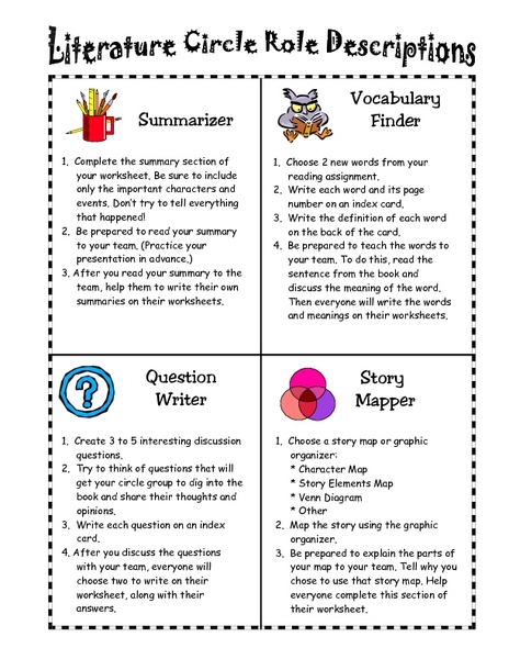 Literature circle worksheets pdf