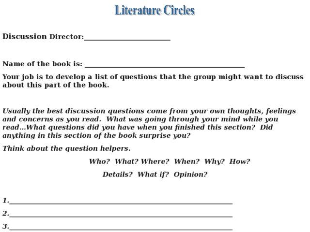 Literature Circles Collection Lesson Planet