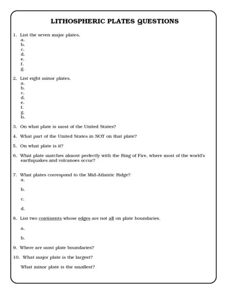 Gallery Images And Information Tectonic Plate Map Worksheet