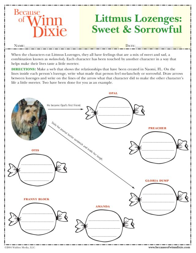 Printables Because Of Winn Dixie Worksheets litmus lozenges sweet and sorrowful because of winn dixie 4th 5th grade worksheet lesson planet