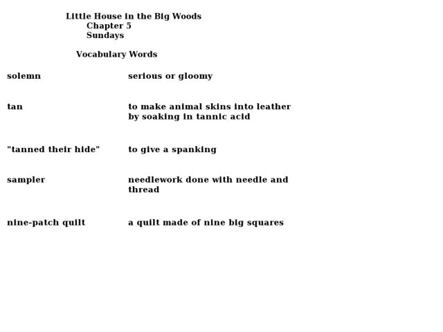 Little House In The Big Woods Worksheets