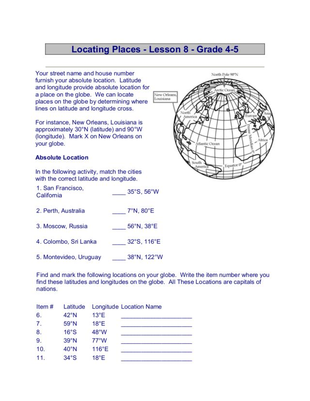 Worksheets Absolute Location Worksheet locating places 4th 5th grade worksheet lesson planet