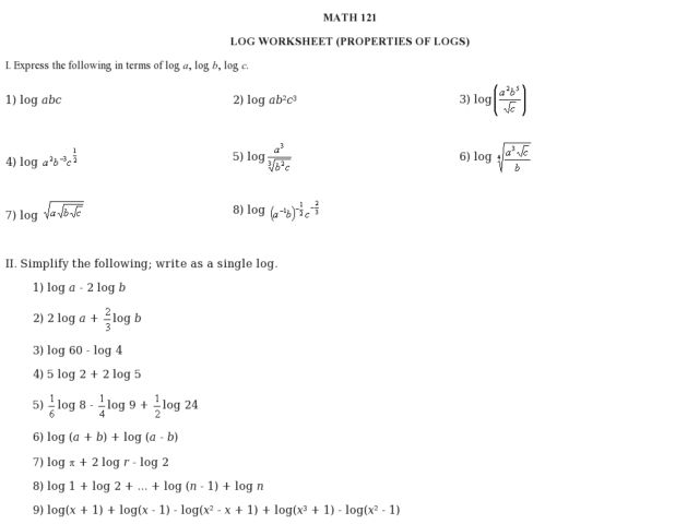 Workbooks Logarithm Worksheets Printable Worksheets Guide for – Logarithm Worksheets