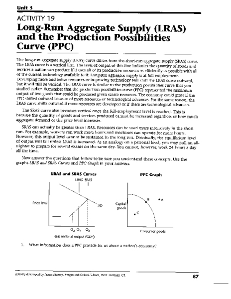 Worksheets Production Possibilities Curve Practice Worksheet long run aggregate supply and the production possibilities curve 9th 12th grade worksheet lesson planet