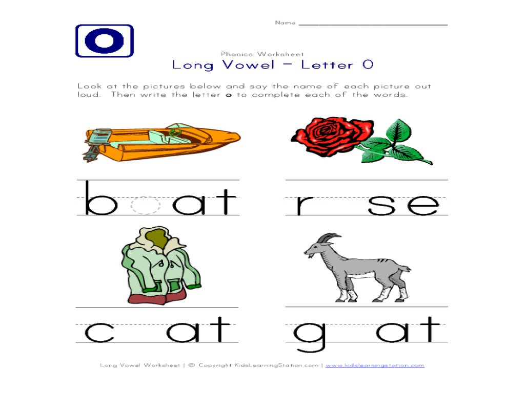 Long Vowel O Worksheets Free Worksheets Library | Download and ...