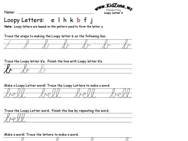 Loopy Letter b Cursive Writing Practice 3rd Grade Worksheet ...