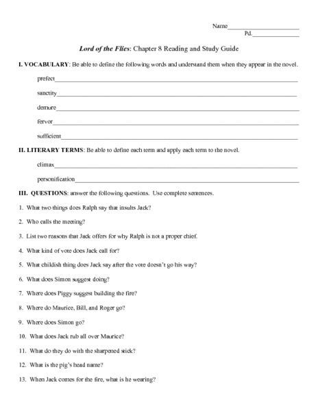 Worksheet Lord Of The Flies Vocabulary Worksheet collection of lord the flies vocabulary worksheet bloggakuten secretlinkbuilding
