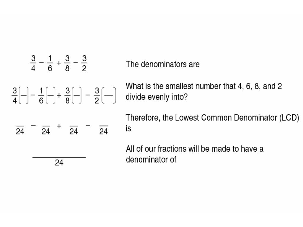 Lowest common denominator worksheets free