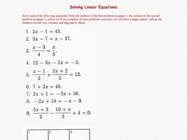 Printables Solving Linear Equations Worksheet magic square solving linear equations 7th 9th grade worksheet lesson planet