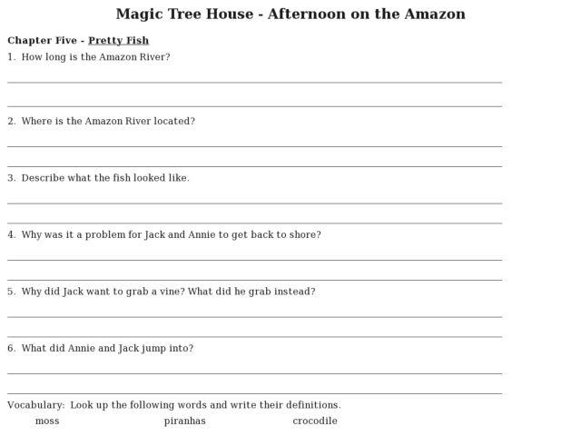 Magic Tree House Comprehension Worksheets - Gamersn