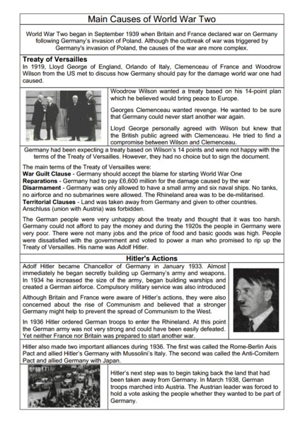 Worksheets On Causes Of World War 1 | Homeshealth.info