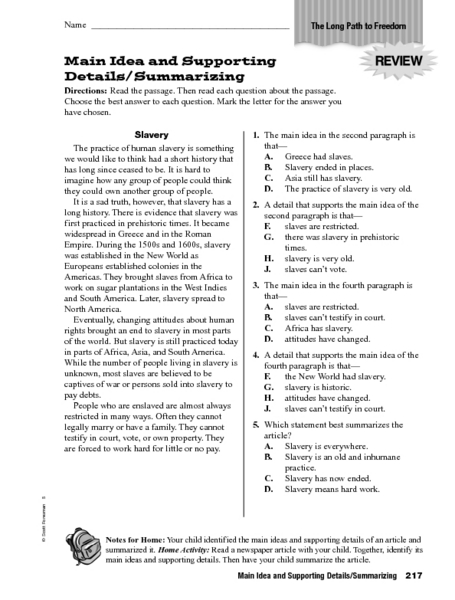 main idea supporting details worksheets - Termolak