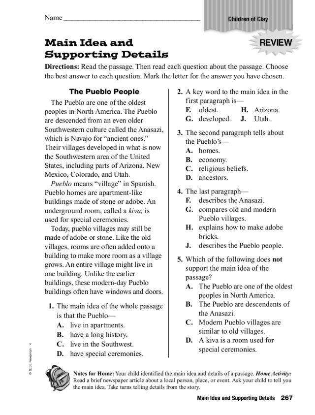 Main Idea Lessons TES Teach – Main Idea Worksheets Middle School