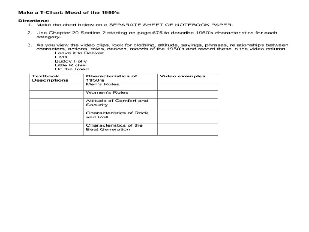 worksheet Mood Worksheet make a t chart mood of the 1950s 8th 12th grade worksheet lesson planet