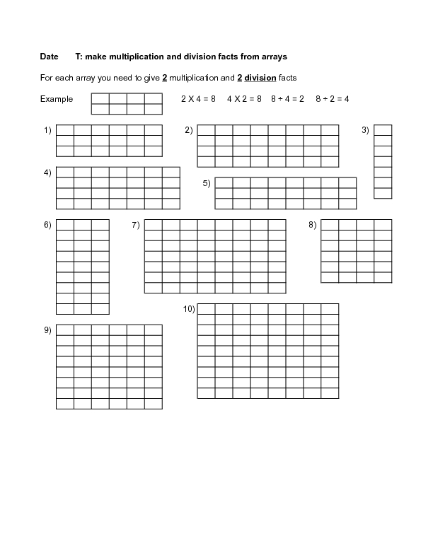 Make Multiplication and Division Facts From Arrays 1 3rd 5th – Division Array Worksheets