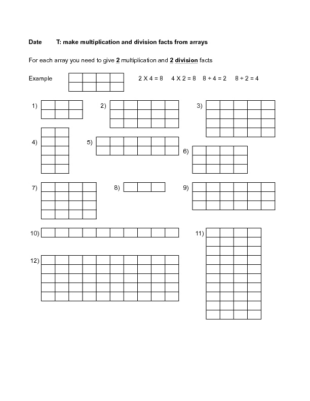 Division Arrays Worksheets Davezan – Division Array Worksheets