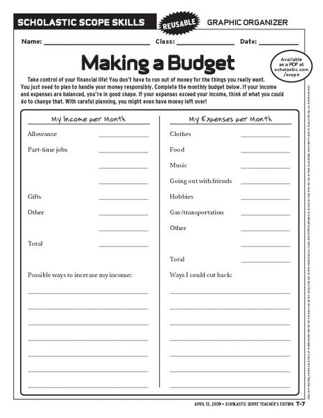 Budget planning worksheets