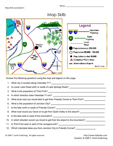 Worksheet Map Skills Worksheets map skills 5th 7th grade worksheet lesson planet