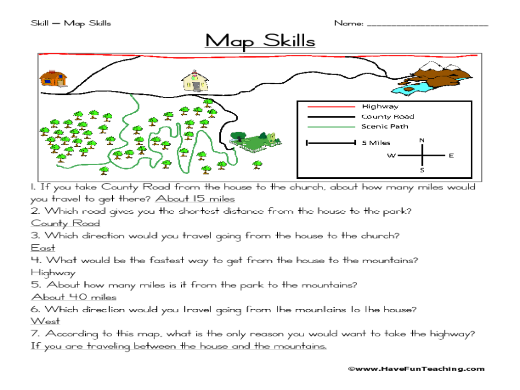 Printables Map Skills Worksheet map skills 2nd 3rd grade worksheet lesson planet