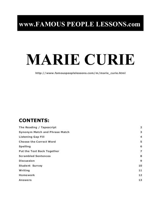 short essay on marie curie Open document below is an essay on marie and pierre curie from anti essays, your source for research papers, essays, and term paper examples.