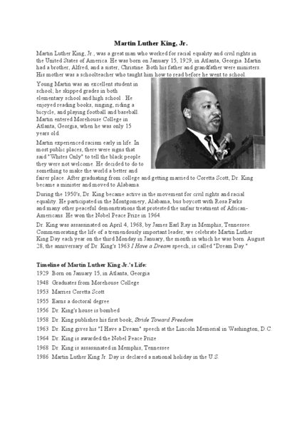 Number Names Worksheets martin luther king worksheets free : Martin Luther King, Jr. 3rd - 4th Grade Worksheet | Lesson Planet