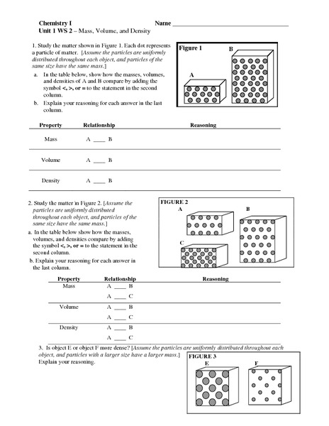 Printables Density Worksheet Chemistry mass volume and density 6th 10th grade worksheet lesson planet