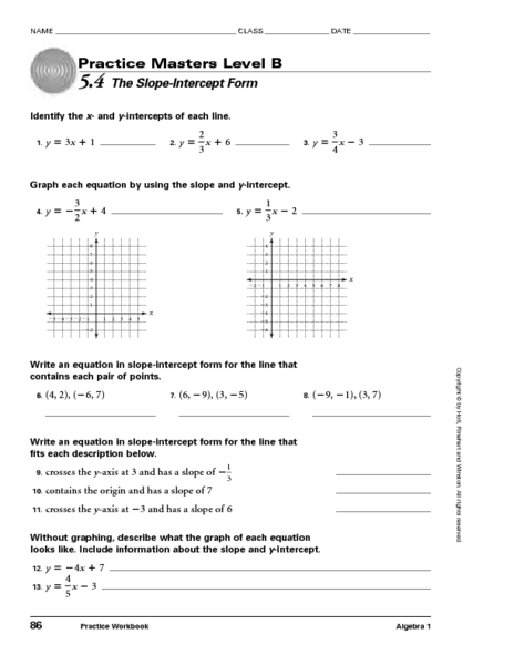 Worksheets Slope Intercept Form Worksheets masters level b 5 4 the slope intercept form 9th 11th grade worksheet lesson planet